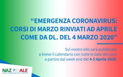 Emergenza Coronavirus Corsi Marzo rinviati ad Aprile