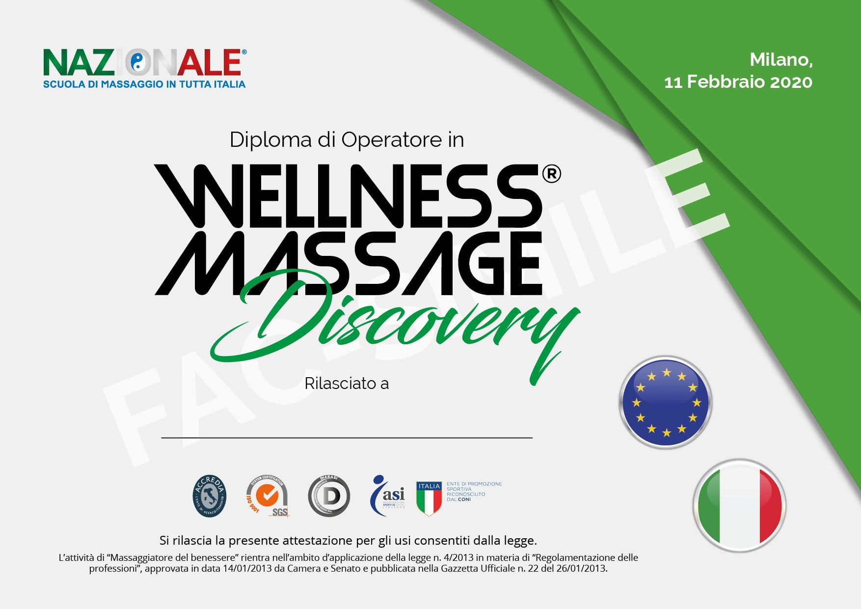 Diploma corso di massaggio certificato.
